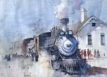 Steam Loco | Painting by artist Bijay Biswaal | watercolor | Paper