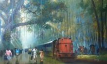 Cityscape Acrylic Art Painting title 'Train Passing Through Nature 2' by artist Bijay Biswaal