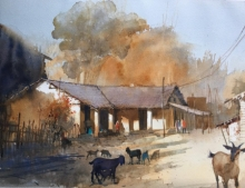 Landscape Watercolor Art Painting title Village Series 1 by artist Bijay Biswaal
