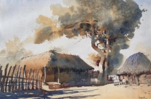 Landscape Watercolor Art Painting title Village Series 5 by artist Bijay Biswaal