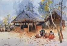 Landscape Watercolor Art Painting title Village Series 7 by artist Bijay Biswaal