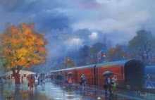 Cityscape Acrylic Art Painting title 'Wet Platform' by artist Bijay Biswaal