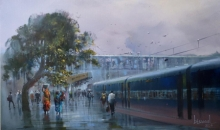 Cityscape Acrylic Art Painting title 'Wet Platform 20' by artist Bijay Biswaal