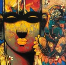 Religious Acrylic Art Painting title Ganesha by artist Sujata Achrekar