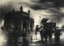 Cityscape Charcoal Art Drawing title 'Monsoon In Mumbai' by artist Ajay De
