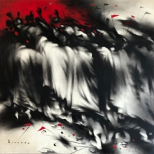 contemporary Acrylic-charcoal Art Painting title 'Untitled 1' by artist Ajay De