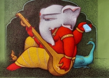 Religious Mixed-media Art Painting title Ganesha With Musical Instrument by artist Mohammed Suleman