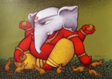 Religious Mixed-media Art Painting title Vighnaharta Ganesh by artist Mohammed Suleman