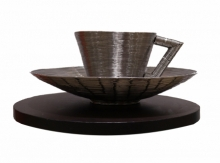 Stainless Steel Sculpture titled 'Cup And Saucer' by artist Ram Kumbhar