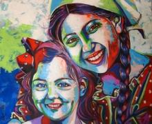 Portrait Acrylic Art Painting title 'Sisters' by artist Mahesh Kummar