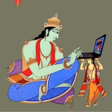 Figurative Acrylic Art Painting title King Using Laptop by artist Shahed Pasha