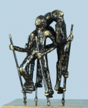 Bronze Sculpture titled 'Village Play 3' by artist Kishor Sharma
