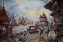 Landscape Watercolor Art Painting title 'Benaras ghat series -1' by artist SHUBHASHIS MANDAL