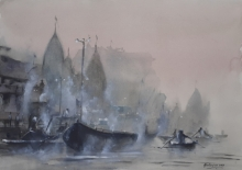 Landscape Watercolor Art Painting title 'Misty Banaras Ghats' by artist Mrutyunjaya Dash