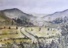 Landscape Watercolor Art Painting title 'Panaromic landscape' by artist Mrutyunjaya Dash
