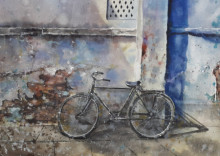 Transportation Watercolor Art Painting title 'Forgotten - BiCycle and old wall' by artist Mrutyunjaya Dash