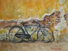 Transportation Watercolor Art Painting title Forgotten - BiCycle and old wall by artist Mrutyunjaya Dash