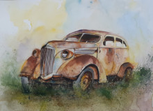 Transportation Watercolor Art Painting title Forgotten - Rusted old truck by artist Mrutyunjaya Dash