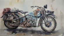 Transportation Watercolor Art Painting title Forgotten - Rusted Old motorcycle by artist Mrutyunjaya Dash
