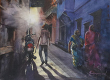 Cityscape Watercolor Art Painting title 'Lanes of Jodhpur' by artist Mrutyunjaya Dash