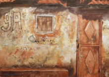 Other Watercolor Art Painting title 'Story On Wall' by artist Mrutyunjaya Dash