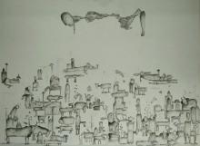 Figurative Acrylic Art Painting title Dreamland by artist Taslim Jamal