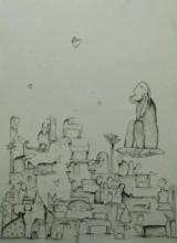 contemporary Acrylic Art Painting title 'Udaan 2' by artist Taslim Jamal