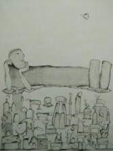 contemporary Acrylic Art Painting title Udaan 4 by artist Taslim Jamal