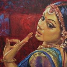 Figurative Oil Art Painting title 'Bharatanatyam 6' by artist Ashis Mondal