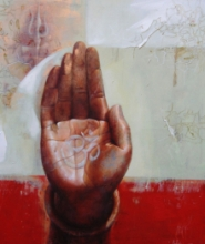 Religious Acrylic Art Painting title 'Blessings 15' by artist Ashis Mondal