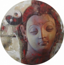Religious Acrylic Art Painting title 'Buddha 14' by artist Ashis Mondal
