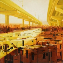 Cityscape Oil Art Painting title 'Lockdown' by artist Bhartti Verma