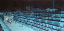 Cityscape Oil Art Painting title 'Oneirism' by artist Bhartti Verma