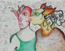Figurative Watercolor Art Painting title Organism by artist Koustav Nag