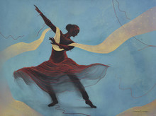 contemporary Acrylic Art Painting title 'The Dancing Lady' by artist Nirmal Yadav