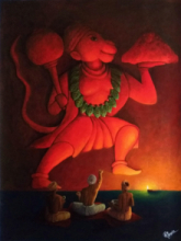 Religious Acrylic Art Painting title 'Kirtan' by artist Ayush Gupta