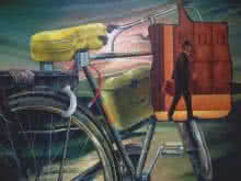 Photorealistic Acrylic Art Painting title 'Alternate Transport' by artist Ajinkya Patil