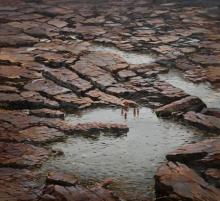Cityscape Acrylic Art Painting title 'Gokak' by artist Mangesh Shinde