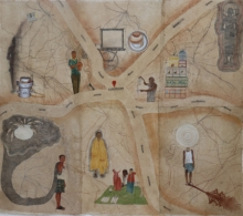 contemporary Mixed-media Art Painting title 'The Location' by artist Intaz Ansari