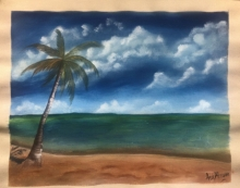Landscape Acrylic Art Painting title 'Calm beach' by artist Anu Dhimaan