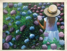 Figurative Acrylic Art Painting title 'Girl in Hydrangea garden' by artist Anu Dhimaan