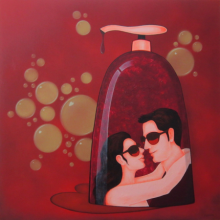 Figurative Acrylic Art Painting title 'Socio Economic Love 1' by artist Praveen Nair
