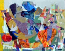 Madan Lal | Acrylic Painting title Swing 3 on Canvas | Artist Madan Lal Gallery | ArtZolo.com