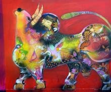art, painting, acrylic, canvas, animal, bull