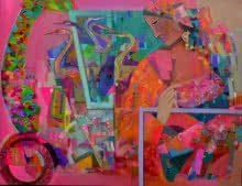 Figurative Acrylic Art Painting title 'The Pink 42' by artist Madan Lal