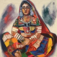 Figurative Acrylic Art Painting title 'Banjara Woman' by artist Anjani Reddy