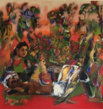 Figurative Acrylic Art Painting title 'Farmer Couple In Chilli Farm' by artist Anjani Reddy