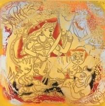 Religious Acrylic Art Painting title Mahishasuramardini by artist Anjani Reddy