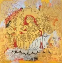 Religious Acrylic Art Painting title Sri Maha Lakhshmi by artist Anjani Reddy