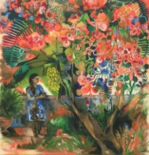 Figurative Acrylic Art Painting title 'The Gulmohar Tree' by artist Anjani Reddy